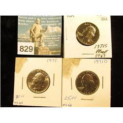 1971 P MS-65, 71 D MS 65, & 1971 S Proof 67 Washington Quarters