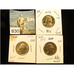 (3) 1972 P Washington Quarter MS-65