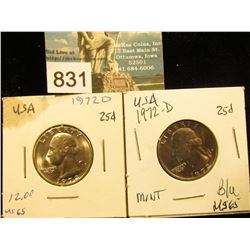 (2) 1972 D Washington Quarter MS-65
