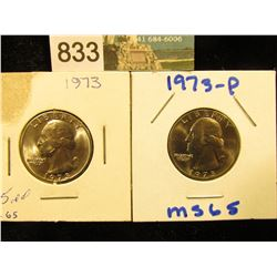(2) 1973 P Washington Quarter MS-65