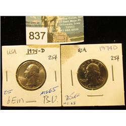(2) 1974 D Washington Quarter MS-65