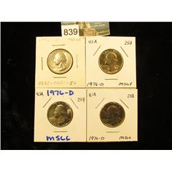 (4) 1976 D Washington Quarter MS-64-66