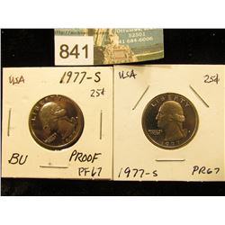 (2) 1977 S Washington Quarter PF-67