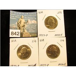 (3) 1977 P Washington Quarter MS-64