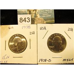 1978 P & 78 D Washington Quarter MS-64-65