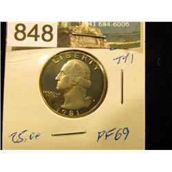 1981 S Type 1  Washington Quarter PF-69