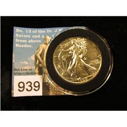 1939 P Walking Liberty Half-Dollar AU-50