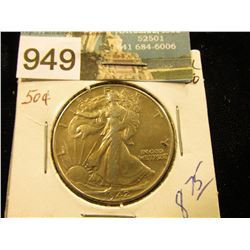 1942 P Walking Liberty Half-Dollar AU-50