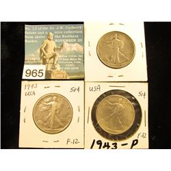 (3) 1943 P Walking Liberty Half-Dollar F-12