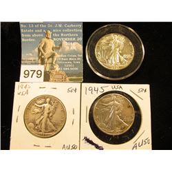 (3) 1945 P Walking Liberty Half-Dollar FINE-AU