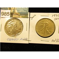 (2) 1935 P Walking Liberty Half-Dollars AU-50