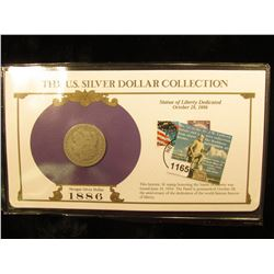 1886 O Morgan Silver Dollar In US Silver Dollar Collection Binder; c/w Commerative Stamp VG-8