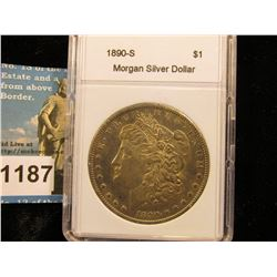 "1890 S Morgan Silver Dollar  In 2"" x 3"" Plastic Case AU-50"