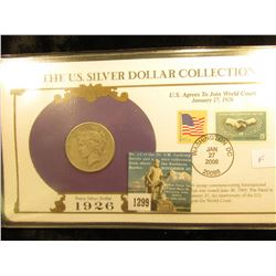 1926 P U.S. Peace Silver Dollar In US Silver Dollar Collection Binder; c/w Commerative Stamp F-16