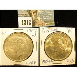 (2) 1923 P U.S. Peace Silver Dollar MS-63