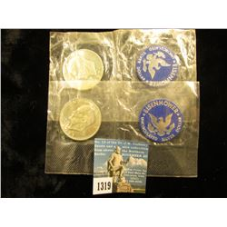 (2) 1971 S Eisenhower Dollar Silver clad In Cellophane package c/w Blue Chip - PCGS pricing MS-65. N