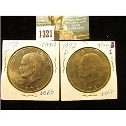 (2) 1972 P Type 1 Eisenhower Dollar MS-63