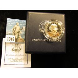 1999 P Susan B. Anthony Dollar In Black Plastic Case with C of C dcam-69