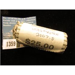 2007 D George Washington Presidential Dollar 25 Coins @ $2.00 ea; Uncirculated Roll MS-63