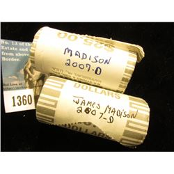 (2) 2007 D James Madison Presidential Rolls of Dollars. 50 Coins @ $2.00 ea; 2 Uncirculated Rolls
