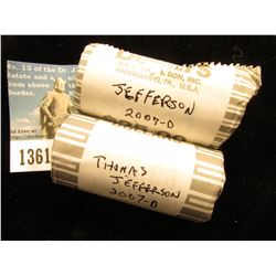 (2) 2007 D Thomas Jefferson Presidential Rolls of Dollars. 50 Coins @ $2.00 ea; 2 Uncirculated Rolls