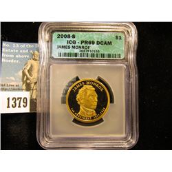 2008 S James Monroe Presidential Dollar slabbed ICG DCAM-69