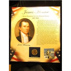 2008 D James Monroe Presidential Dollar Mounted on cardboard sheet c/w picture and write-up MS-67