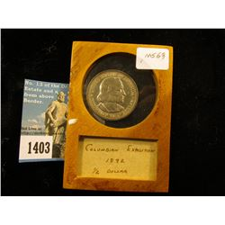 "1892 Columbian Exposition Half-Dollar In 2-3/8"" x 3-3/8"" Wood Case. MS-63"