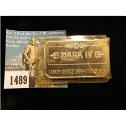 P-40 Flying Tiger, Mark IV 1 Troy Ounce .999 Fine Silver Ingot.