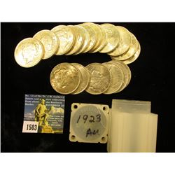 (18) 1923 P U.S. Silver Peace Dollars in a square plastic tube. All AU.