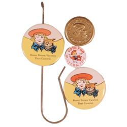 Buster Brown billhook, pocket mirror & 50th Anniversary (1954) token.