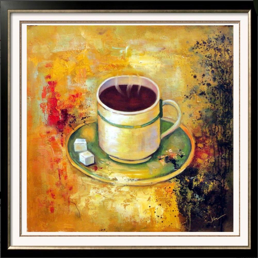 Bright Yellow Coffee Cup Modern Textured Painting On Canvas Janier