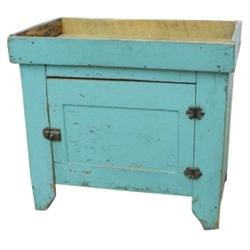 """painted pine dry sink, robin's egg blue/green paint, 27""""h x 30""""w."""