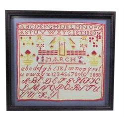 "1888 sampler, nicely framed, old reds, blues & mustard colored, 16 1/2""W x 15 1/2""H."