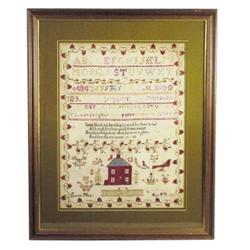 "Very old framed sampler of house, great old colors, 29""H x 23 1/2""W."