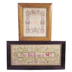 Lot of two:  1894 Benton Co., IA, certificate & religious sampler in Victorian walnut frame.