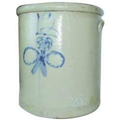 Twelve gallon Redwing salt glaze  Butterfly  crock, with hairlines.