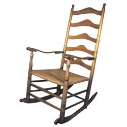 Maple ladder back rocking chair with woven seat, 42 H.