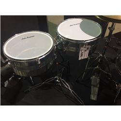 ANUBA PERCUSSION 13'' AND 14'', 6.5'' DEEP TIMBALES, WITH STAND