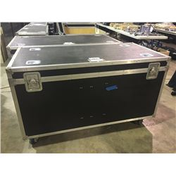 CUSTOM BUILT ROAD CASE, 27'' H X 57'' W X 28'' D, INSIDE, USED FOR LUDWIG FLOOR TOMS AND CYMBALS