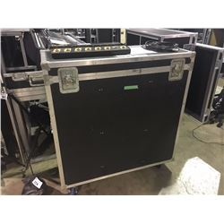 CUSTOM BUILT ROAD CASE, 40'' H X 43'' W X 17'' D, INSIDE, USED FOR LUDWIG DRUM HARDWARE