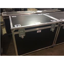CUSTOM BUILT ROAD CASE, 30'' H X 42.5'' W X 32'' D, INSIDE, GONG DRUM, HARDWARE, AND MORE