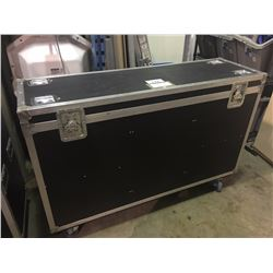 CUSTOM BUILT ROAD CASE, 29.5'' H X 56'' W X 16'' D, INSIDE, USED FOR TOMS, HARDWARE, NO CLOTH