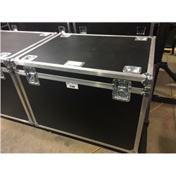 CUSTOM BUILT ROAD CASE, 30'' H X 42.5'' W X 32'' D, INSIDE, USED FOR CONGAS, PERCUSSION AND CYMBALS