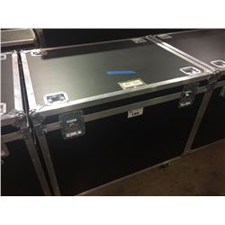 CUSTOM BUILT ROAD CASE, 30'' H X 42.5'' W X 32'' D, INSIDE, USED FOR CONGAS, PERCUSSION AND