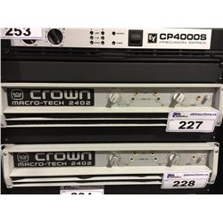 CROWN MACRO-TECH 2402 PROFESSIONAL STEREO POWER AMPLIFIER