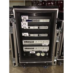 SHOCK MOUNT 18U RACK ROAD CASE, 23'' RACK DEPTH, 20'' RAIL DEPTH, 43'' H X 25'' W X 29.5'' D