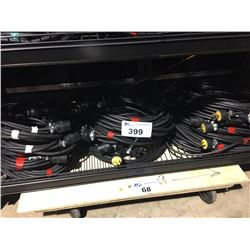 SHELF LOT OF 14 GAUGE WEATHER RESISTANT EXTENSION CORDS