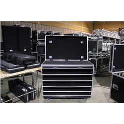 GUITAR/BASS STORAGE AND TRANSPORTATION ROAD CASE WITH WORK SURFACE, AND PULL OUT SURFACE