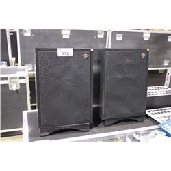 PAIR OF KLIPSCH HERSHEY III BLACK SRB STEREO SPEAKERS WITH STANDS
